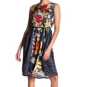 Johnny Was Floral Silk Babydoll Dress